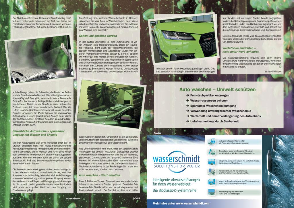 Auszug aus der carwashinfo Umweltschutz